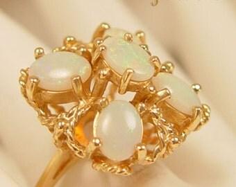 Gorgeous White Opal Ensemble 14Kt Gold Estate Ring - Fine