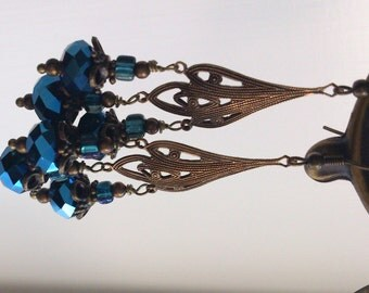 Electric blue beautiful dangle earrings brass subtle sparkle OOAK
