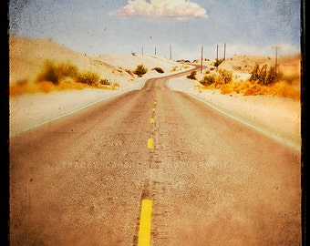 Route 66, Wall Art Print, Photograph of Winding Road, Route 66 art, road trip decor, cloud, golden, pale blue, Arizona desert, travel decor