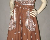 Vintage 50s 60s Wrap Dress Rockabilly Brown with White Pattern Full Skirt Big Pockets 36 bust M