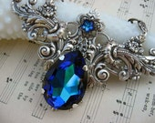 Vintage Inspired - N23 - Swarovski Crystal Necklace - Bermuda Blue Necklace