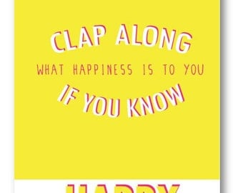 Happy / Pharrell / DIGITAL Lyric Poster / Typography Poster