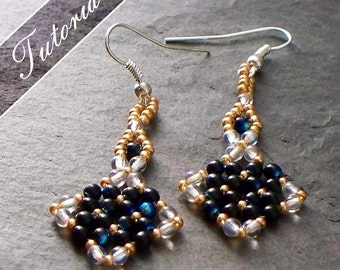 Beading Tutorial and Pattern, Earrings, RAW right angle weave, Step by Step with Detailed Diagrams Avia