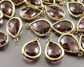 2 Purple brown faceted unique glass pendants / tear drop glass beads for jewelry making 5060G-PUB