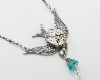 Steampunk Necklace Vintage watch movement silver filigree, sparrow bird blue aquamarine flower pendant pearl Statement necklace jewelry gift