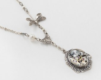 Steampunk Jewelry Steampunk Necklace Vintage watch movement gears silver dragonfly flower leaf pearl Pendant Necklace Steampunk nation