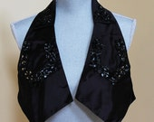 Vintage Adele Simpson Black Satin and Sequin Collar