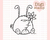 Sunflower Bunny Digital Stamp for Card Making and Paper Crafts