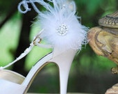 Shoe Clips White Feathers Puff & Rhinestone. Bride Bridal Bridesmaid Couture, Autumn Wedding Statement Romantic Boudoir Burlesque Whimsical