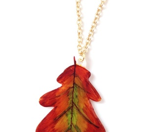 Oak Leaf Pendant Necklace - Fall / Autumn Leaves, British Tree, Autumnal Woodland Colours - Green, Brown
