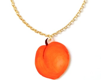 Peach Fruit Necklace - Pendant, Juicy, British, Orange, Tree, Woodland