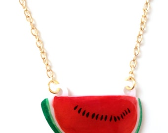 Watermelon Fruit Necklace - Pendant, Melon Slice, Juicy, Tropical, Red, Green
