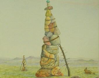 "Art & Collectibles Original Pastel Drawing Landscape Desert Rock Pile Chamanism Tribal Desert Quebec Canada By Jacques Audet ""The Former"""