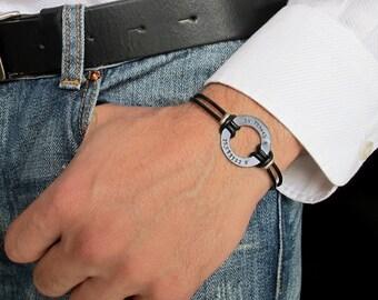 Men's Bracelet. Black Leather Bracelet. Custom Mens Bracelet. Personalized Washer Leather cuff. Adjustable Wristband. Gift For Him