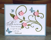 """Inspirational Note Card with Embossed Butterflies - 4.25"""" x 5.5"""" - Stampin Up Elegant Inspirations - Hand Stamped Scripture"""