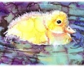 Puddle Duckling Watercolor Painting Print, Artist-Signed