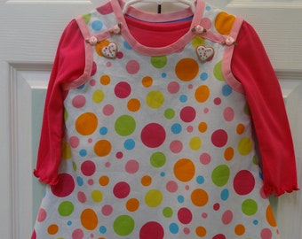 TODDLER DRESS Set :  girl's 12 to 18 months, dress , hot pink polo , fully lined , adorable cookie buttons, bias tape trimmed