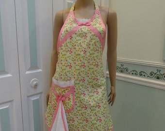 MODERN STYLE APRON :full Apron,Yellow with pink and yellow floral print, hot pink bias trim,one pocket,dishtowel