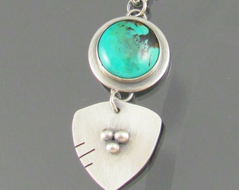 turquoise shield sterling silver necklace - turquoise gemstone necklace - turquoise necklace - turquoise jewellery