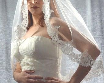 French Alencon Lace Veil, Lace Veil, Lace Edge Bridal Veil