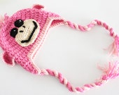 Crochet Monkey Hat with Earflaps Made to Order Choose your Color and Size Baby to Adult