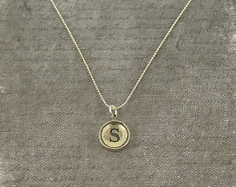 Initial Letter S Typewriter Key Pendant Necklace Charm - Sterling Silver  - Other Letters Available