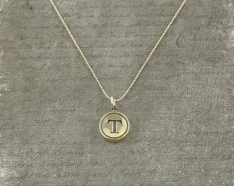 Letter T Typewriter Key Pendant Necklace Charm - Other Letters Available GDJ