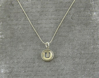Letter U Necklace - Silver Initial Typewriter Key Charm Necklace - Gwen Delicious Jewelry Design GDJ