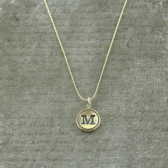 Letter M Typewriter Key Pendant Necklace Charm - Other Letters Available