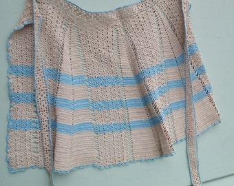 Vintage 1950s Hostess Apron Handmade Hand Crochet Cotton Lacy Striped Pattern Beige Ivory Blue Women's 50s Pinny Waist Apron Feminine Design