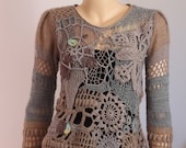 Custom order for alkeheilmann Art to wear  Freeform Crochet Knitting Sweater   - Wearable Art - OOAK - Size M