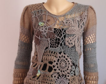 SALE 30% OFF Art to wear  Freeform Crochet Knitting Sweater   - Wearable Art - OOAK - Size S -M
