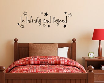 To Infinity and Beyond Decal - Boy Bedroom wall decal - Infinity Quote - Medium