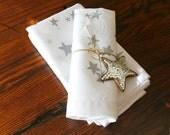 SALE. Linen Dinner Napkin. Set of Four. Silver Stars. Entertaining. Tabletop.