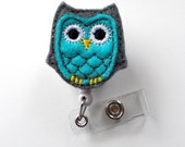 Blue and Gray Owl - Retractable ID Badge Reel - Name Badge Holder - Cute Badge Reel - Nurse Badge Holder - Nursing Badge Clip - Feltie Badge