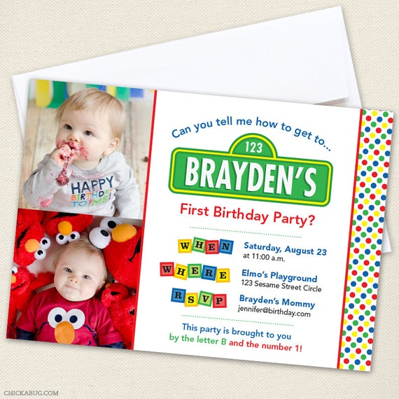 sesame street party photo invitations - professionally printed *or, Party invitations