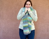 Watercolor: Wool Blend Multicolor Scarf - Crochet Scarf For Women - Hoooked Scarves -  Pink Blue Yellow, Green, Etc. - Ready To Ship