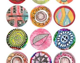 Digital Collage Sheet - Mixed Media Circles - Instant Download - Printable - Scrapbook Elements - Art Journal Elements