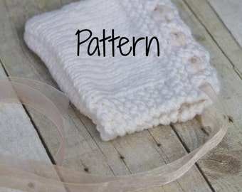 Knitting Pattern Eyelet Baby Bonnet, Newborn Photography Prop, Instant Download