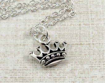Royal Crown Necklace, Silver Royal Crown Charm on a Silver Cable Chain