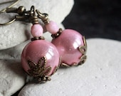 Pink Lucite Bead Earrings - A.293