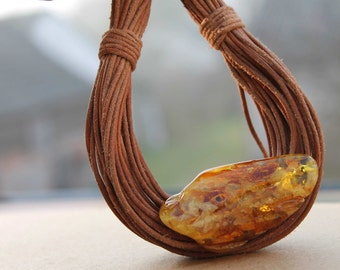 Rustic Leather Necklace Yellow Honey Amber Organic Jewelry Bee Multi Strand Earthy Color Gold Brown Tan Summer Fashion Raw Stone