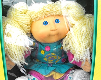RARE Cabbage Patch Kid Designer Line Transition Collector Doll VHTF Lemon Hair Double Ponies Unique Limited Time Xavier Signature Coleco CPK