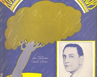 1930s Guy Lombardo Music Sheet Running Between the Raindrops Midnight Blue Grey Yellow Sydney Leff Tin Pan Alley Grayscale Art Noveau Print