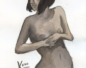 Female Nude in Sway - 7.5 x 10 Watercolor Painting