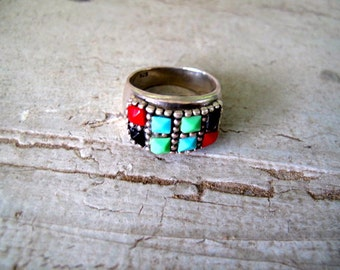 Vintage Sterling Ring with Multi Colored Stones