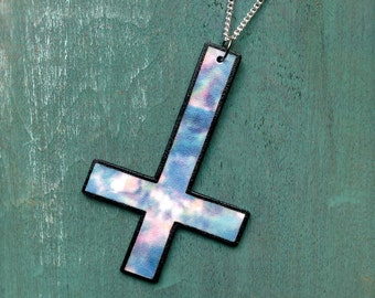 Large dark inverted upside down cross pastel tie dye astro dust galaxy space print charm necklace with silver chain