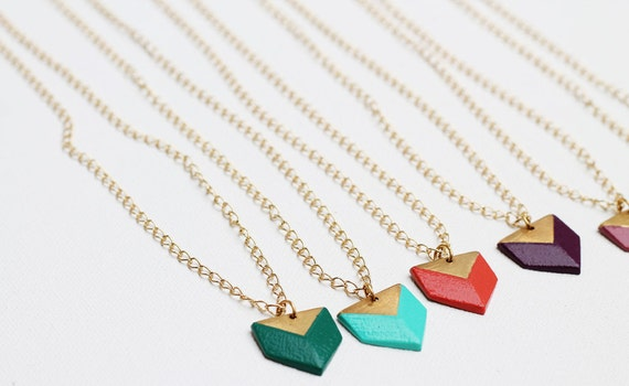 Geometric Prism Color Dipped Necklace
