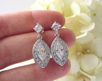 Crystal Cubic Zirconia Drop Earrings, Crystal Earrings, Chandelier, Sterling Silver, Marquis Diamond Cubic Zirconia, Crystal Bridal Earring