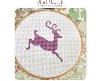 Reindeer Silhouette Cross Stitch Pattern Instant Download